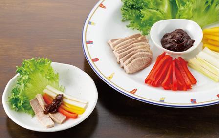 塩豚と彩り野菜 梅みそディップ添え